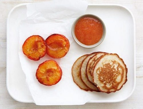 Gluten-free Almond and Coconut Pancakes with Spiced Plums – By Lisa Linder