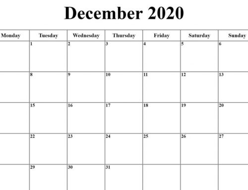 December 2020 Community Calendar